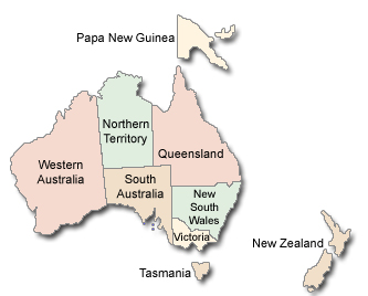Map Of Australia Tasmania And New Zealand.Magician Directory A Worldwide Directory Of Magicians U S A